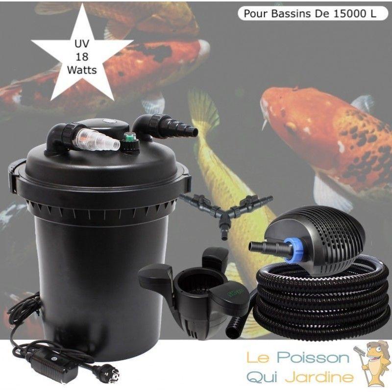Kit Filtre Pression, UV 18W + Écumeur Pour Bassins De 15000 L - LE POISSON QUI JARDINE