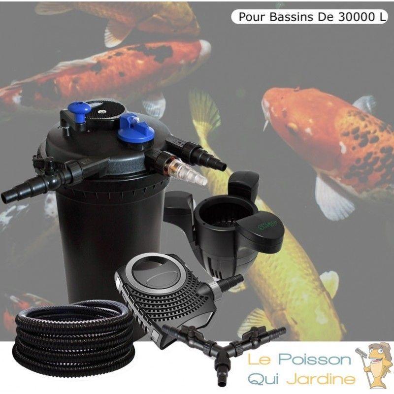 Kit Filtre Pression 18W + Écumeur + Pompe De 10000 L/h, Pour Bassins De 30000 L - LE POISSON QUI JARDINE