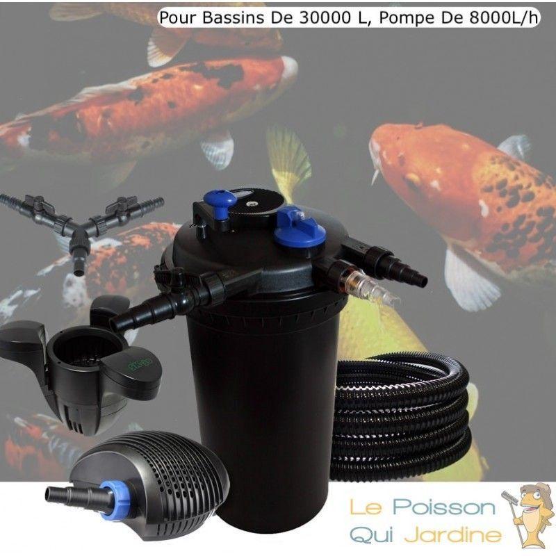 Kit Filtre Pression 18W Complet + Écumeur + Pompe 8000L/h Pour Bassins De 30000 L - LE POISSON QUI JARDINE