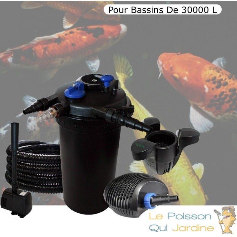 Kit Filtre Pression, 18W + Fontaine, Écumeur Pour Bassins 30000 L - LE POISSON QUI JARDINE