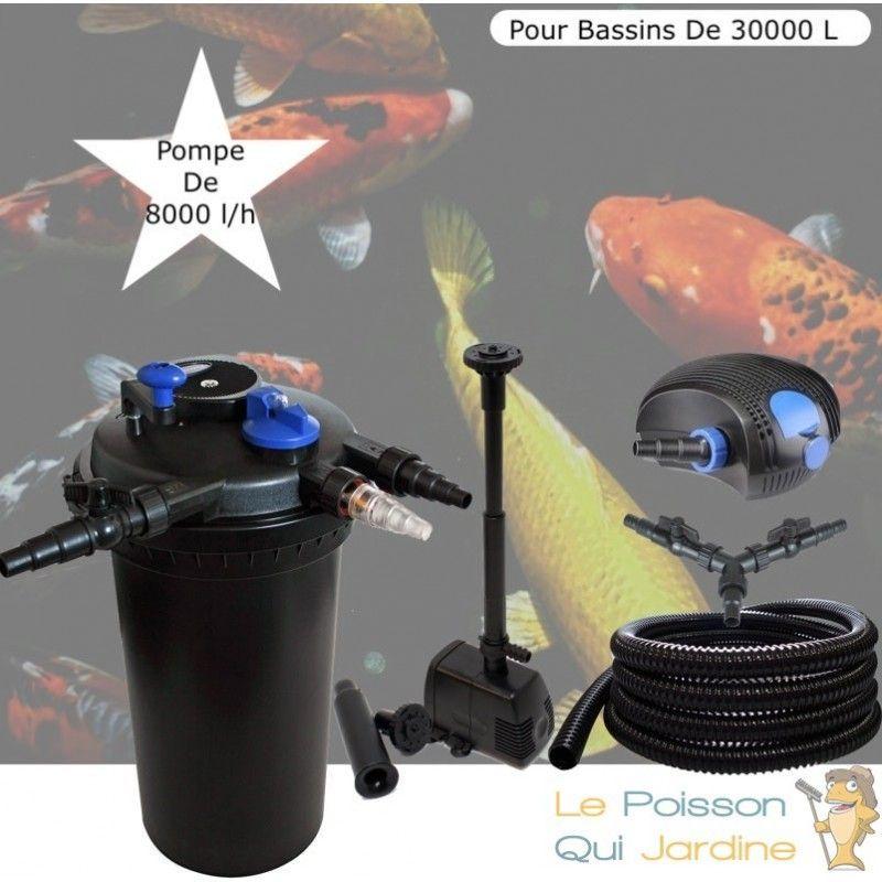 Kit Filtre Pression, UV 18W + Fontaine, Pour Bassins De 30000 L - LE POISSON QUI JARDINE