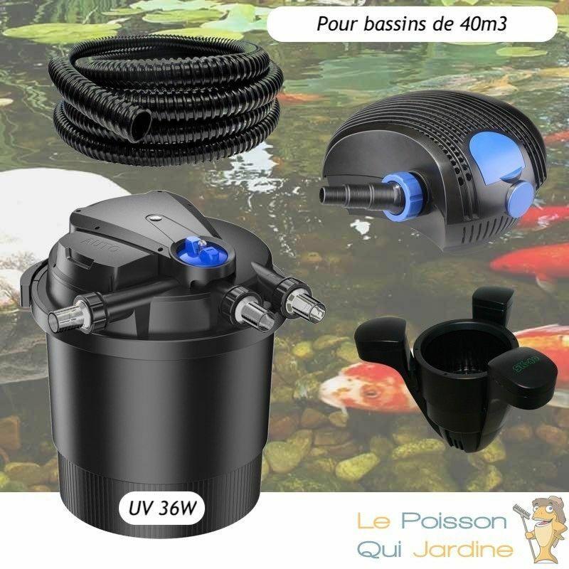 Kit Filtre Pression UV 36W, Pompe, Tuyau, écumeur Pour Bassins De 40000 L - LE POISSON QUI JARDINE