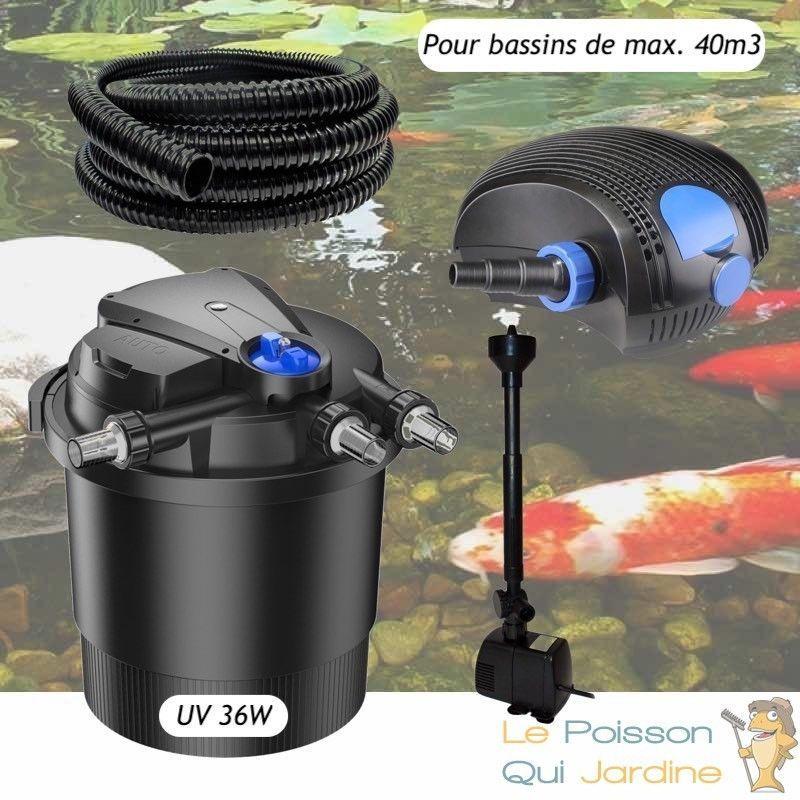 Kit Filtre Pression UV 36W, Pompe, Tuyau, fontaine Pour Bassins De 40000 L - LE POISSON QUI JARDINE