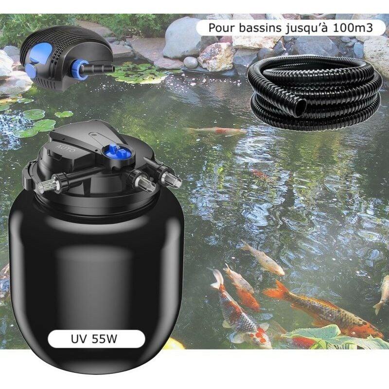 Kit Filtre Pression UV 55W, Pompe, Tuyau, Pour Bassins De 100000 L