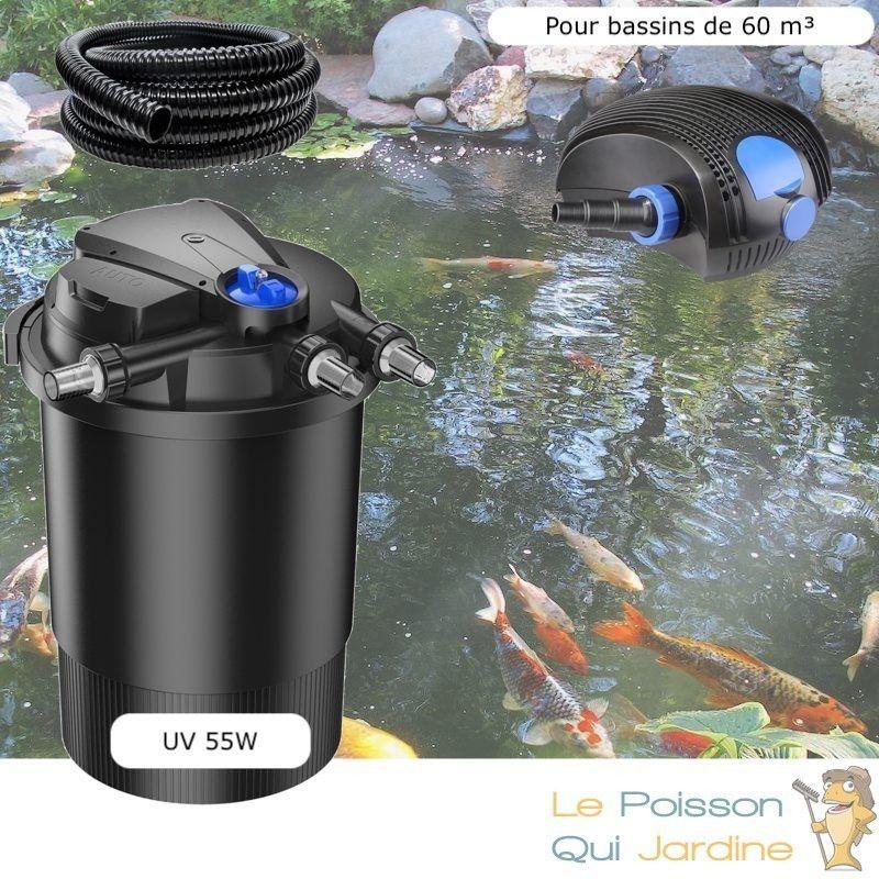 Kit Filtre Pression UV 55W, Pompe, Tuyau Pour Bassins De 60000 L