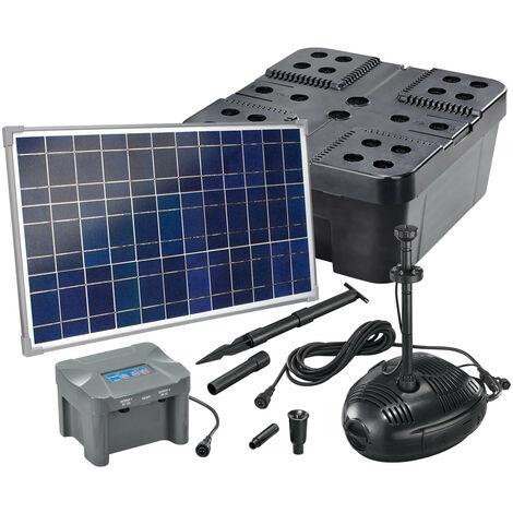 Kit filtre solaire bassin 35/1300 + batterie Filtre pompe solaire bassin jardin esotec 101074