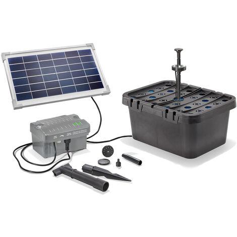Kit filtre solaire pour bassin 8/300 avec batterie rechargeable Kit pompe pour bassin de jardin esotec 101068