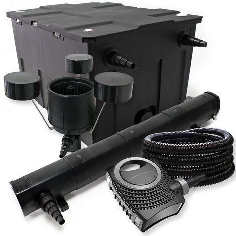 Kit filtro Bio Filtro 60000l 72 W clarificador Bomba de estanque skimmer y manguera jardin