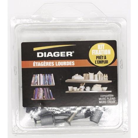 Kit fixation prêt à l'emploi - Étagères lourdes - DIAGER - FKITFIX005