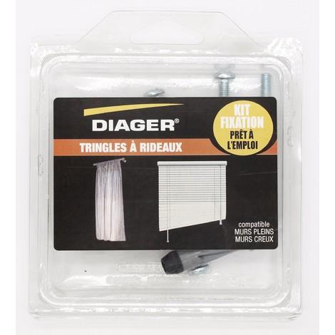 Kit fixation prêt à l'emploi - Tringles à rideaux - DIAGER - FKITFIX003