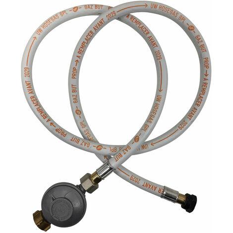 Kit flexible 1,50m et détendeur Butane - Blanc
