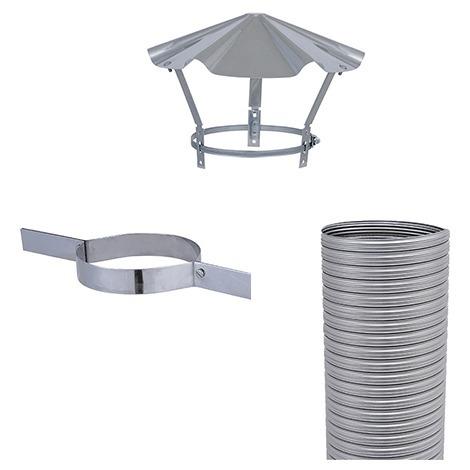 Kit flexible FLEXITHERM - Kit 7m de flexible de tubage + collier de tubage + chapeau chinois. Diamètre intérieur 150mm extérieur 156mm