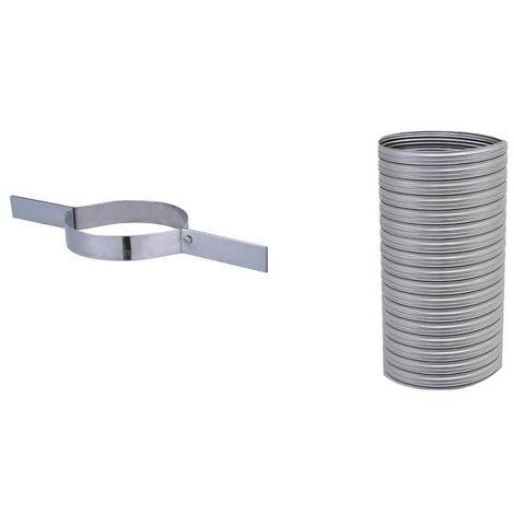 Kit flexible FLEXITHERM - Kit 7m de flexible de tubage + collier de tubage. Diamètre intérieur 200mm extérieur 206mm