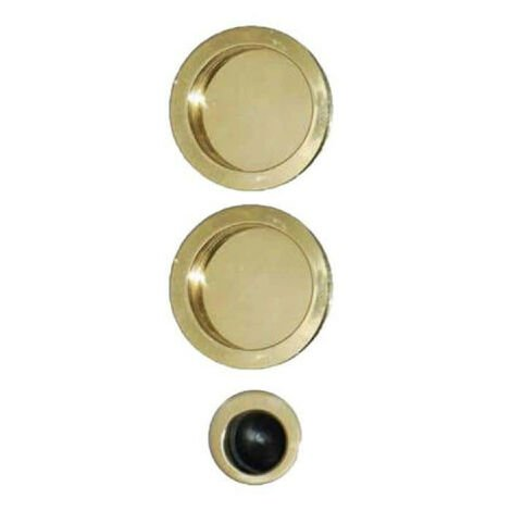 Kit for roller shutter door - round handles - duck spout - brass