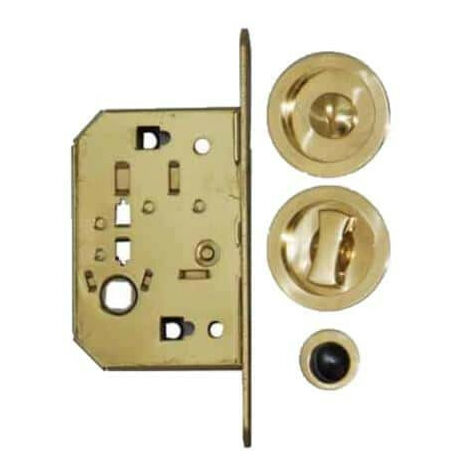 Kit for roller shutter door - round handles - locking - brass