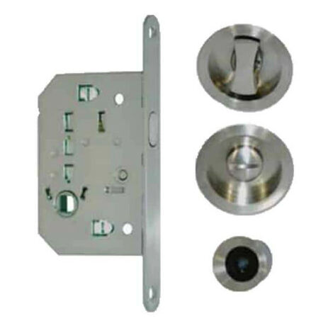 Kit for roller shutter door - round handles - locking - stainless steel