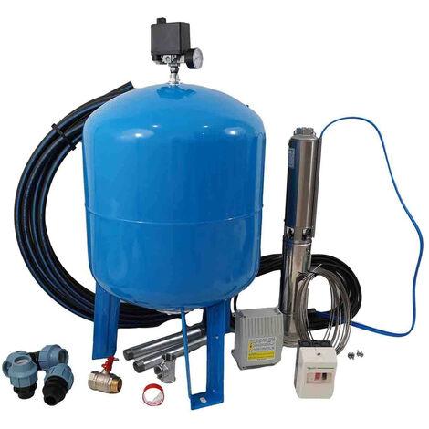 Kit forage complet avec pompe 4'' 230V 2,2Kw, protection thermique et access.