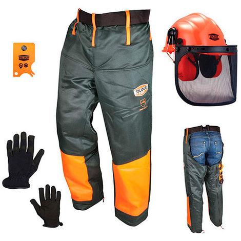 Kit forestier contenant casque jambiere gants et carte tire tiques KF4 - SOLIDUR - taille: - couleur: