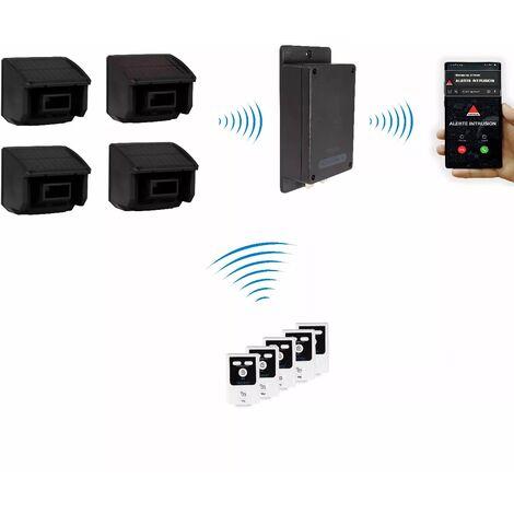 Kit furtif extérieur 100% sans-fil autonome 4 détections mouvement + alerte silencieuse GSM 3G Appel/SMS (gamme BT)