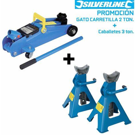 Kit Gato Carretilla 2 Ton + Par Caballetes 3 Ton - Silverline