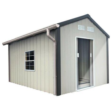 Kit gouttière PVC pour abris de jardin en métal - Gris - INTERPLAST