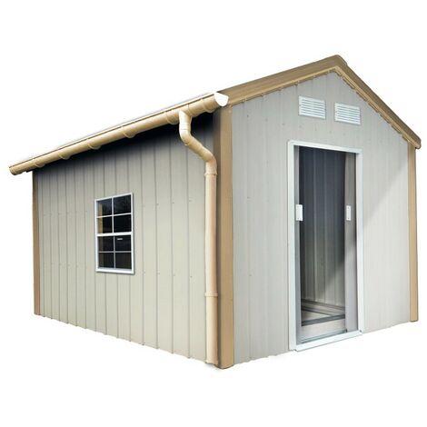 Kit gouttière PVC pour abris de jardin en métal - Sable - INTERPLAST
