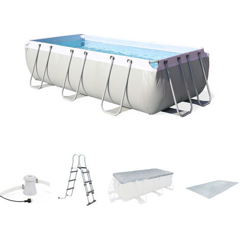 Kit grande piscine tubulaire Topaze 8m² grise, piscine 4x2m, pompe, bâche, tapis de sol, échelle