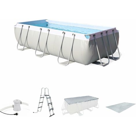 Kit grande piscine tubulaire - Topaze grise - piscine rectangulaire 4x2m avec pompe de filtration, bâche de protection, tapis de sol et échelle, piscine hors sol armature acier