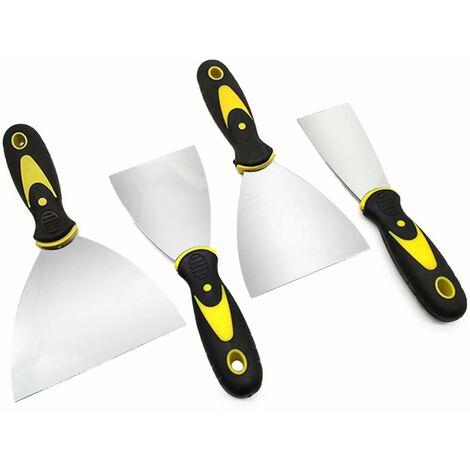 Kit grattoir, couteau à peinture kit spatule en acier inoxydable, lame flexible en acier inoxydable avec poignée antidérapante, pour papier peint et murs (quatre pièces, 2 pouces, 3 pouces, 4 pouces, 5 pouces)