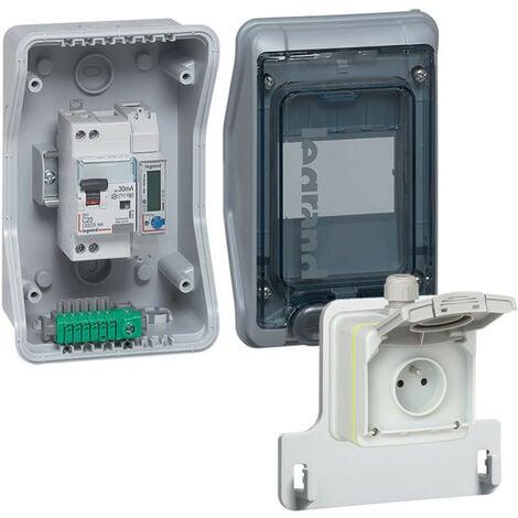 Kit Green'up Access pour véhicule électrique coffret équipé et pré câblé + prise + patère + disjoncteur différentiel (090481)