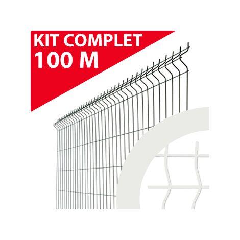 Kit Grillage Rigide Blanc 100M - JARDIMALIN - Fil 4mm - 1,23 mètre