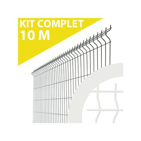 Kit Grillage Rigide Blanc 10M - JARDIMALIN - Fil 4mm - 1,53 mètre