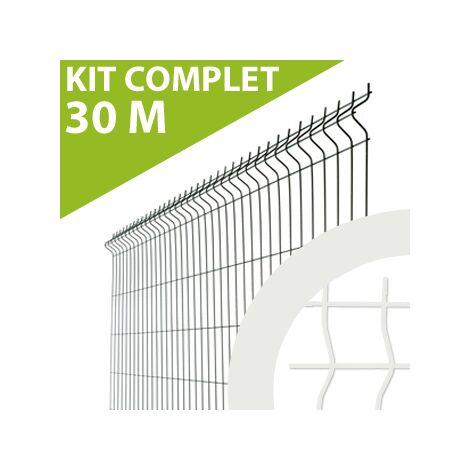 Kit Grillage Rigide Blanc 30M - JARDIMALIN - Fil 4mm - 1,23 mètre