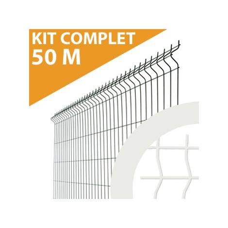 Kit Grillage Rigide Blanc 50M - JARDIMALIN - Fil 4mm - 1,23 mètre