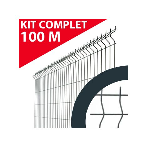Kit Grillage Rigide Gris Anthracite 100M - JARDIMALIN - Fil 4mm - 1,53 mètre