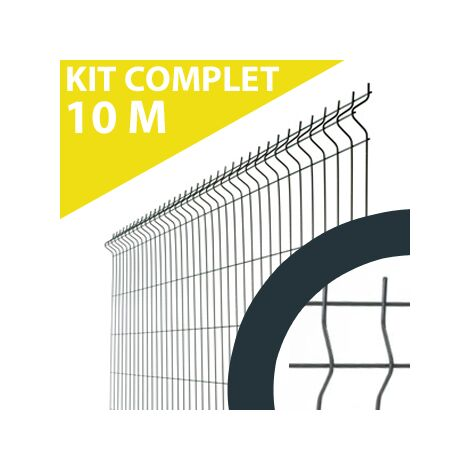 Kit Grillage Rigide Gris Anthracite 10M - Fil 4mm - 1,23 mètre