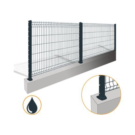 Kit Grillage Rigide Gris Anthracite 10M - JARDIPREMIUM+ - Fil 4/5mm - Sur Platines - 1,23 mètre