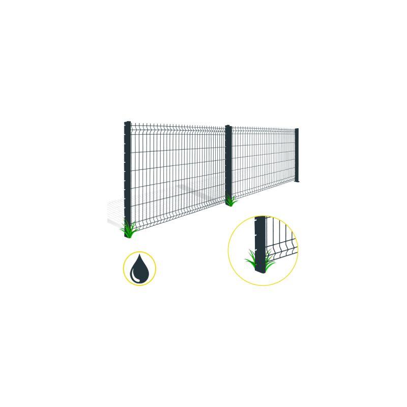 kit grillage rigide gris anthracite 30m fil 4mm 1 23. Black Bedroom Furniture Sets. Home Design Ideas
