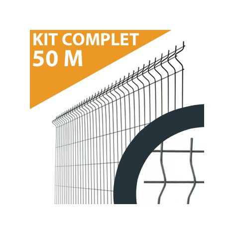 Kit Grillage Rigide Gris Anthracite 50M - JARDIMALIN - Fil 4mm - 1,93 mètre