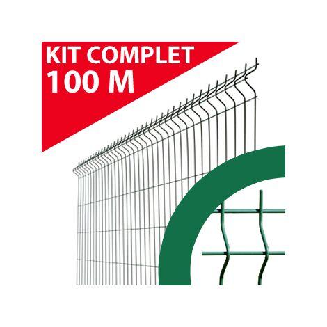 Kit Grillage Rigide Vert 100M - JARDIMALIN - Fil 4mm - 1,23 mètre