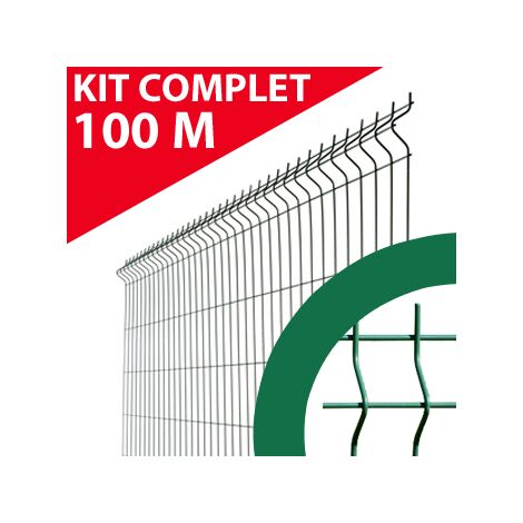 Kit Grillage Rigide Vert 100M - JARDIMALIN - Fil 4mm - 1,93 mètre