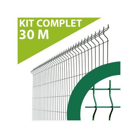 Kit Grillage Rigide Vert 30M - JARDIMALIN - Fil 4mm - 1,23 mètre