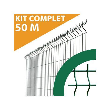 Kit Grillage Rigide Vert 50M - JARDIMALIN - Fil 4mm - 1,23 mètre
