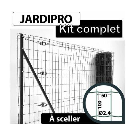 Kit Grillage Soudé Gris 100M - JARDIPRO - Maille 100x50mm - Triple lisière - 1,50 mètre