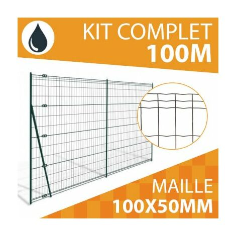 Kit Grillage Soudé Gris 100M - JARDIPRO - Maille 100x50mm - Triple lisière - 2 mètres