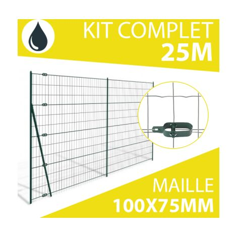 Kit Grillage Soudé Gris 25M - Maille 100x75mm - 1,50 mètre
