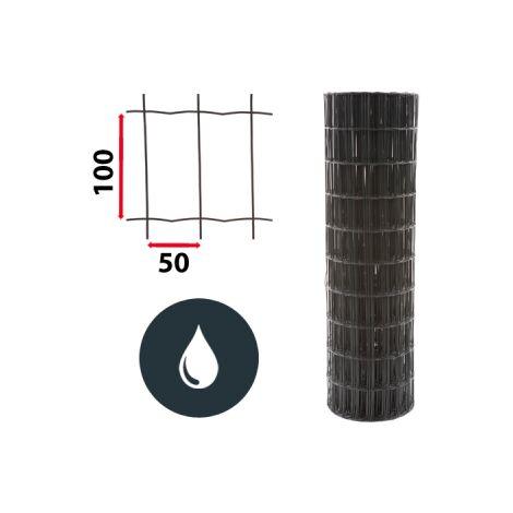 Kit Grillage Soudé Gris 50M - JARDIPREMIUM - Maille 100x50mm - 1,20 mètre