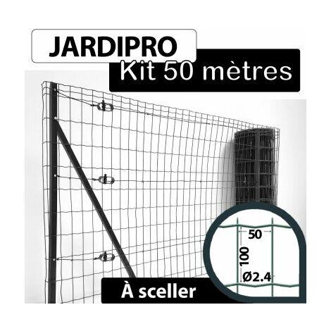 Kit Grillage Soudé Gris 50M - JARDIPRO - Maille 100x50mm - Triple lisière - 2 mètres