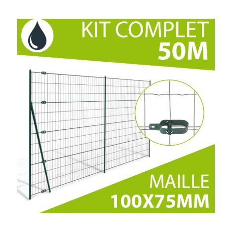 Kit Grillage Soudé Gris 50M - Maille 100x75mm - 1 mètre