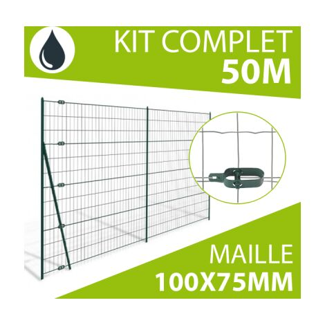 Kit Grillage Soudé Gris 50M - Maille 100x75mm - 1,50 mètre